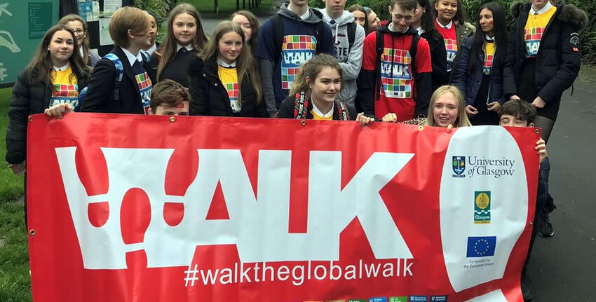 'Walk the Global Walk' project participants promote SDG 11 in Glasgow on 5 June