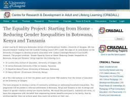 The Equality Project: Starting from Home - Reducing Gender Inequalities in Botswana, Kenya and Tanzania
