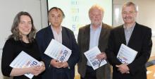 Philippa Bonella (SCIAF), Prof Mike Osborne (Director CR&DALL), Colm Regan (book's editor), Prof John Briggs (Director GCID).  (Picture courtesy of Paul McSherry).